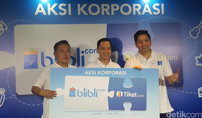 Peresmian akuisisi Tiket.com oleh Blibli. Foto: (Fitraya/detikTravel)