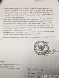 Surat KPK tolak hadirkan Miryam ke Pansus Angket /