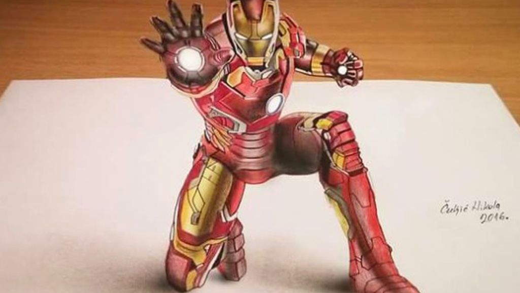 Lukisan 3D Goresan Pensil yang Super Keren
