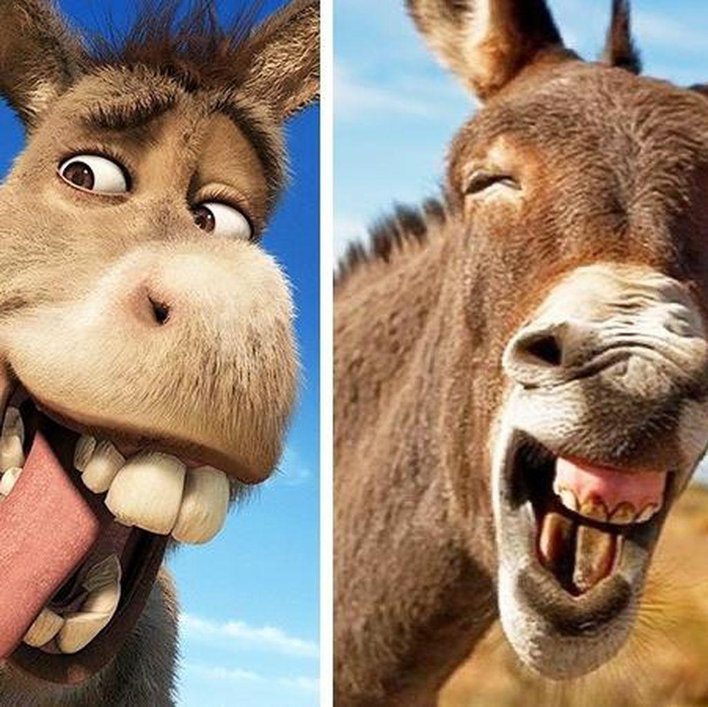 Lucu! Karakter Animasi vs Hewan Asli di Dunia Nyata