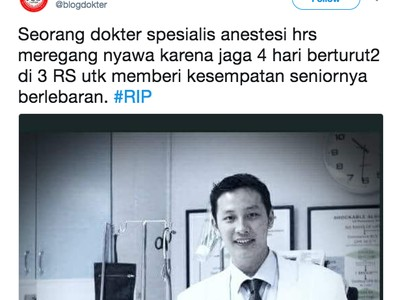Viral, Seorang Dokter Anestesi Dikabarkan Meninggal Saat Piket Lebaran