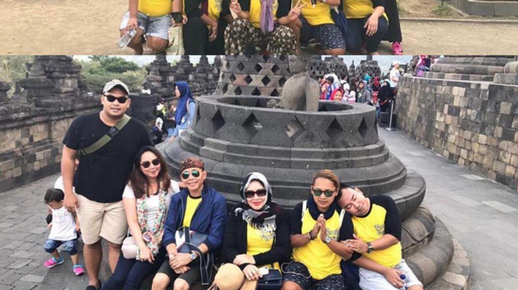 Heboh Foto Keluarga Ayu Ting Ting Duduk di Pinggiran Stupa Borobudur, Bolehkah?