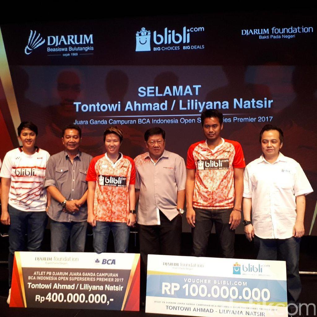 Juara Indonesia Open, Tontowi/Liliyana Diganjar Bonus Rp 500 Juta