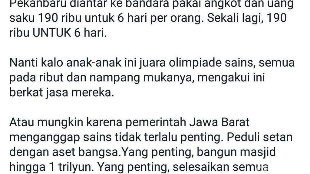 Berita Tim Olimpiade Sains Jabar Telantar di Riau, Pemprov Jabar: Tidak Benar!