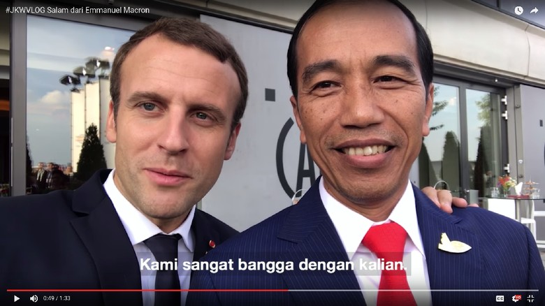 Begini Isi Vlog Kolaborasi Jokowi - Jakarta Presiden RI Joko Widodo merilis vlog bersama Presiden Prancis Emmanuel Macron pada pertemuan di Jerman beberapa waktu