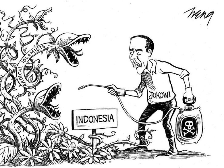 Perlawanan Jokowi ke Islam Radikal Jadi Karikatur di New York Times
