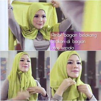 Tutorial hijab segi empat tanpa peniti.