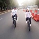 Rayakan Hari Anak, Menhub dan Putrinya Bersepeda di Car Free Day