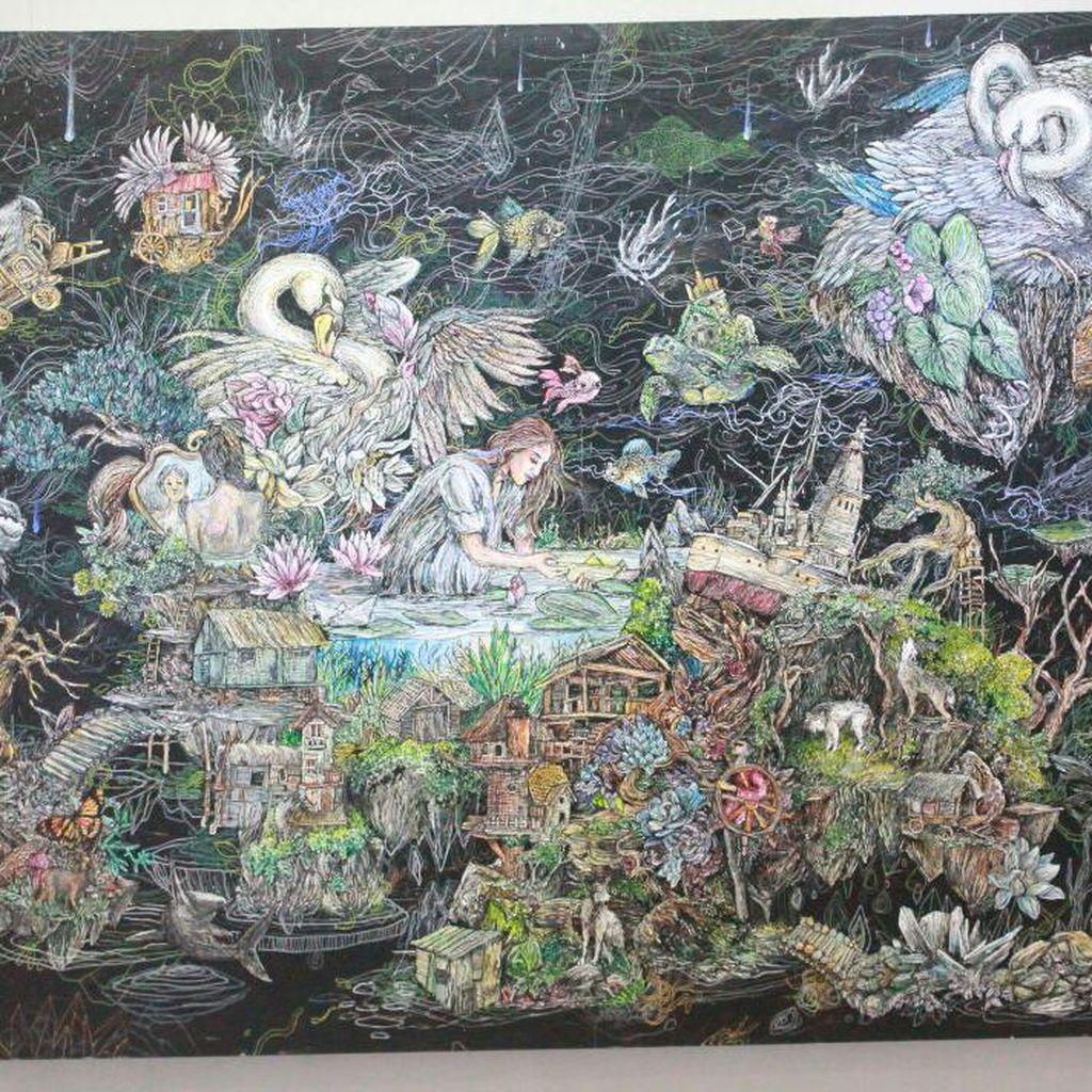 Tak Biasa, Lukisan Galih Reza Suseno Gunakan Teknik Montase