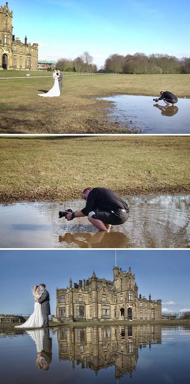 Fotografer Chris Chambers rela mengambil foto dengan kondisi tanah tergenang air. Hasilnya pun sesuai perjuangan. (Foto: internet)