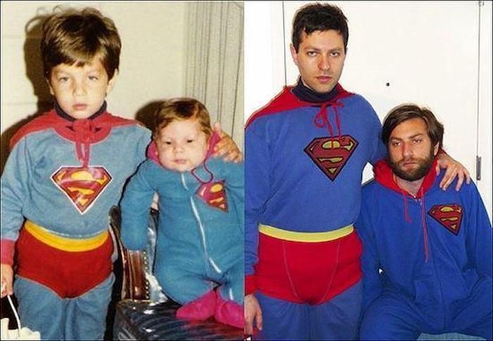 Kostum dan posenya sama persis. Tentu versi dewasa lebih menggelikan karena sudah tua. Foto: istimewa