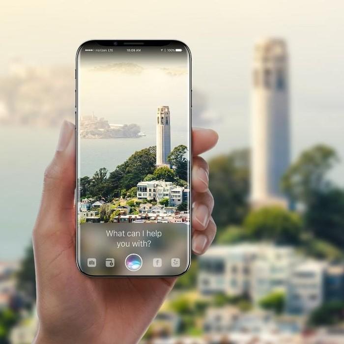 Konsep iPhone yang dibuat desainer Gabor Balogh memperlihatkan iPhone 8 terintegrasi penuh dengan Siri yang semakin pintar, sehingga bisa mengenali sebuah objek dan menawarkan bantuan secara lebih personal. Foto: Gabor Balogh
