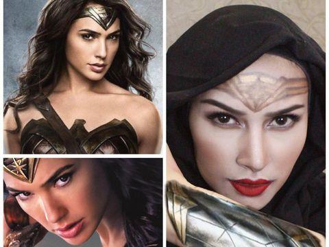 Dandan Ala Wonder Woman, Hijabers Bandung Disebut 'Gal Gadot'-nya Indonesia