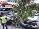 Dua Mobil Rusak Tertimpa Pohon di Kuningan