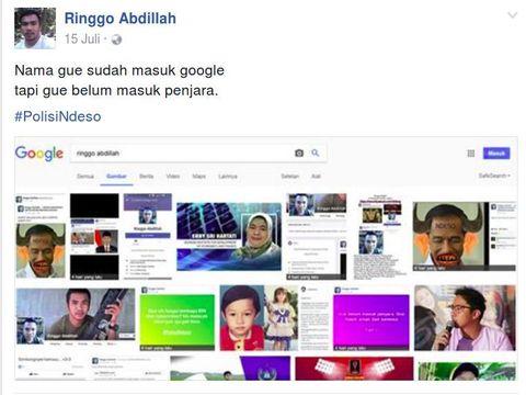 Postingan Ringgo Abdillah di FB.