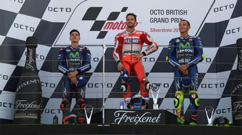 Dovizioso Diapit Vinales dan Rossi di Podium Silverstone