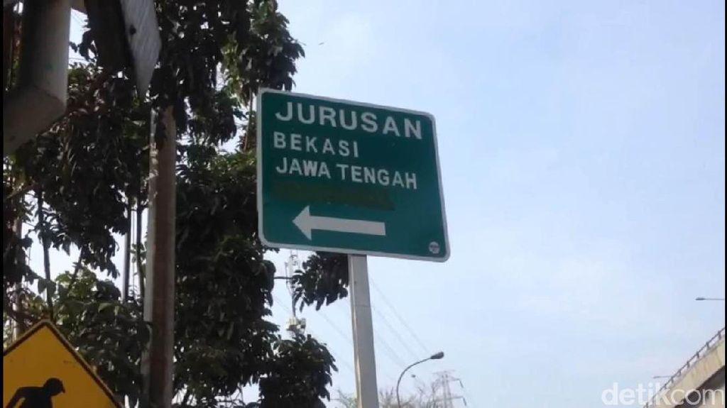 Bikin Bingung, Rambu Lalin ke Lampung Lewat Bekasi Ditutup