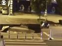 Asyik Main Ponsel, Pemotor Ini Jatuh ke Lubang Jalan Besar