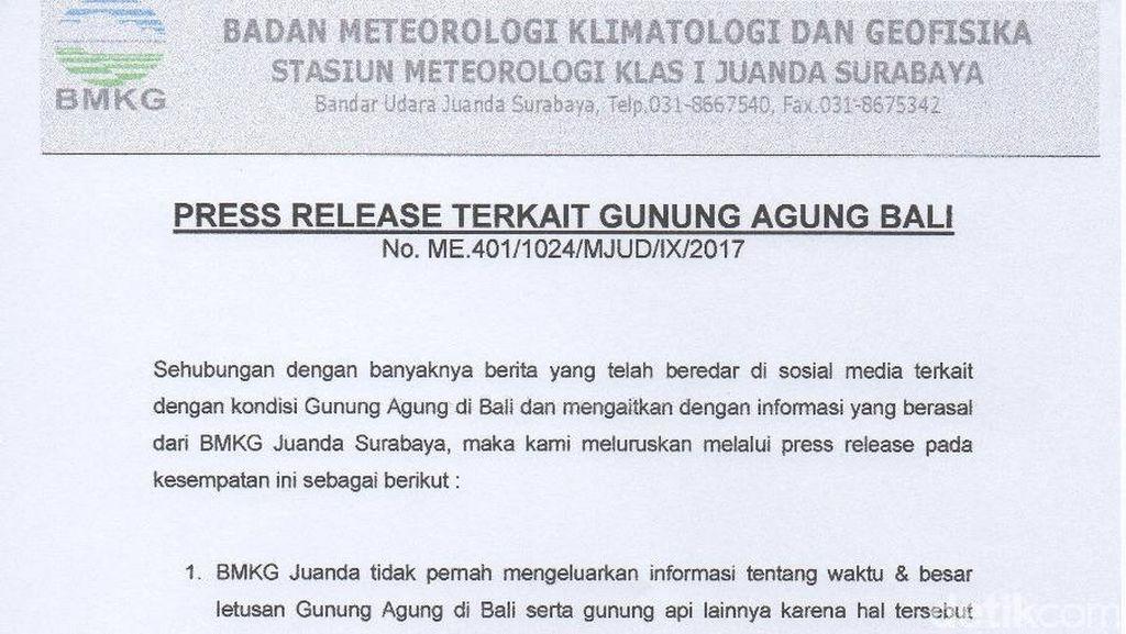 Ini Kata BMKG Juanda Soal Gunung Agung Meletus Berimbas ke Surabaya