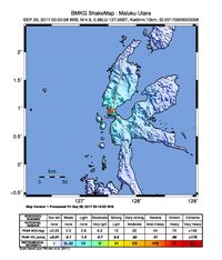 Gempa 4,9 SR di Halmahera Barat