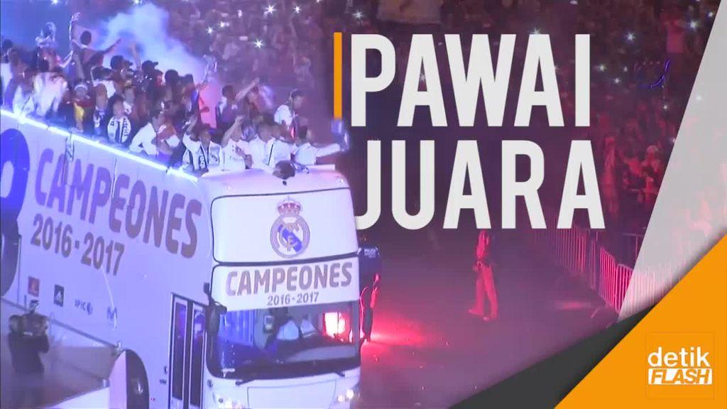 Pesta Kemenangan Real Madrid, Sergio Ramos Cium Patung Cibeles