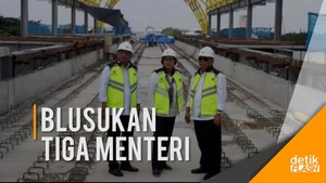 Tiga Menteri Jokowi Tinjau Proyek LRT Palembang