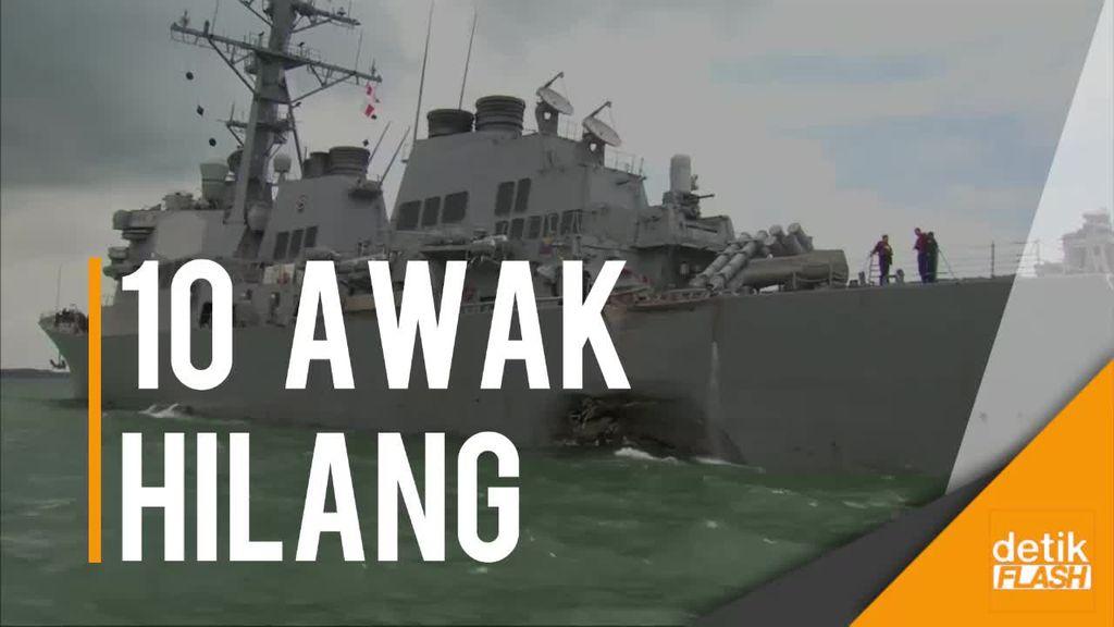 Kapal Perang AS Tabrak Tanker di Perairan Singapura