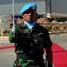 Dalam upacara peringatan Hari Perdamaian Internasional ini, anggota Satgas Force Headquaters Support Unit (FHQSU) TNI Konga XXVI-A, Mayor Marinir S.B bertindak sebagai komandan upacara. (Kapten Laut (KH) Hondor Saragih).