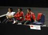 Pelatih dan Tim Indonesia Garuda saat menyaksikan pertandingan final Axiata Cup 2012. Wajah tegang terpancar dari semuanya