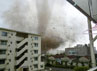 Angin tornado menghantam sejumlah bangunan di kota Tsukuba di perfektur Ibaraki. Reuters/Kyodo.