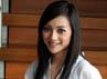 Host Road to EURO 2012, Lolita Agustine tersenyum manis saat ditemui dalam acara progam Euro 2012 di Jakarta.