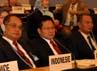 Muhaimin Iskandar didampingi Dirjen Pembinaan Pengawasan Ketenagakerjaan (PPK) Kemnakertrans Muji Handaya (sebelah kiri Menteri/paling kanan), ketua Delegasi pengusaha dari APINDO Sri Martono (Sebelah kanan Menteri ) dan Ketua Delegasi dari Serikat Pekerja  Said Iqbal (KSPI) sedang menyimak paparan dari Negara-negara anggota ILO dalam  sidang International Labour Conference (ILC/Konferensi Ketenagakerjaan Internasional ).