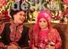 Dekorasi pesta pernikahan mereka mengambil tema 1001 Malam.
