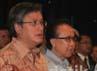 (Ki-ka) Sekretaris Jenderal Kementerian Kelautan dan Perikanan Gellwynn Jusuf, Menteri Kelautan dan Perikanan Sharif C. Sutardjo, bersama Menteri Pendayagunaan Aparatur Negara dan Reformasi Birokrasi (Menpan) Azwar Abubakar usai penandatanganan pakta Pembangunan Zona Integritas menuju Wilayah Bebas Korupsi di Gedung Mina Bahari III KKP, Jakarta Pusat, Jumat (13/7/2012).