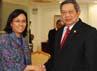 Sri Mulyani menyatakan, Bank Dunia meminta Indonesia meningkatkan perannya untuk penyelesaian krisis dunia. Rusman/Setpres.
