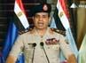 Abdel Fattah al-Sisi mengumumkan bahwa pihak militer Mesir akhirnya berhasil menggulingkan Presiden Mohamed Morsi dari kepemimpinannya. AFP/Egyptian TV.
