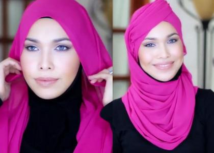 Tutorial Hijab Terinspirasi Topi Pramugari Emirates 1
