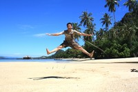 Jump on the white sand