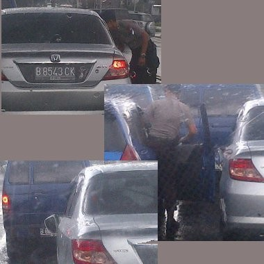 Polisi Ganti Spion Mobil yang Dipatahkan Anggota Brimob di Bogor