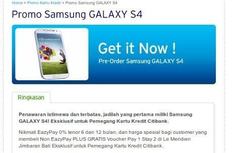 Pemesanan Galaxy S4 di Citibank (ist)