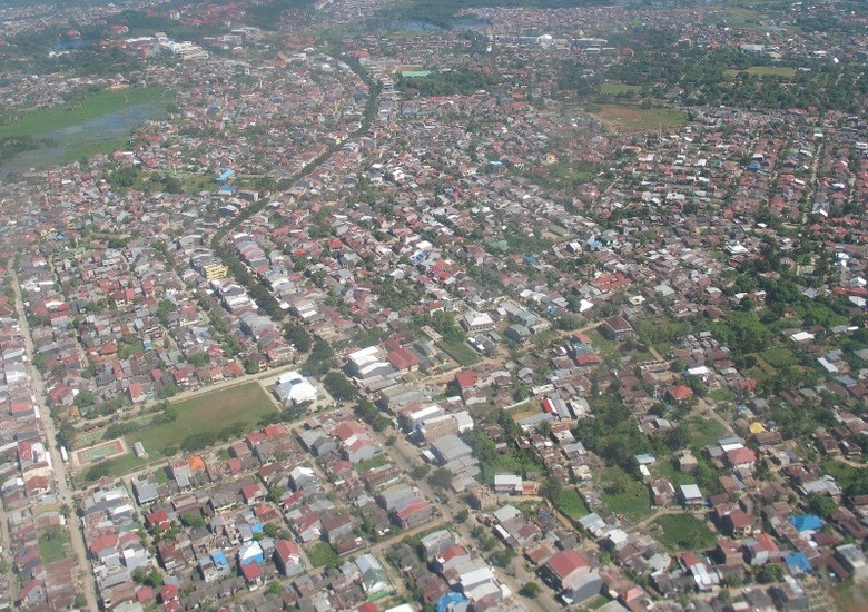 Dari ketinggian inilah penampakan Kota Makassar (Putri/detikTravel)