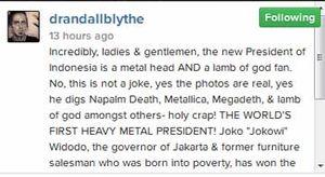 Lamb of God, Guns N Roses, Anthrax Ucapkan Selamat Kepada Jokowi