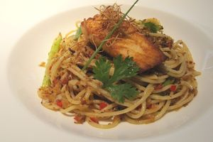 Mencicipi Spaghetti Salmon & Sakura Ebi  dan Baked Alaska di XXI The Premiere Lounge