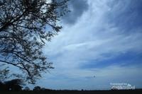 Langit biru berselimut awan Putih yang menyelimuti matahari