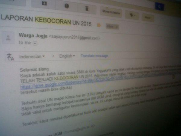 Ugm Terima Laporan Dugaan Kebocoran Soal Un Via Internet