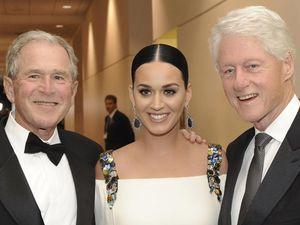 Katy Perry Eksis Bareng George W. Bush dan Bill Clinton