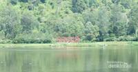 Di sekeliling Situ Cisanti berdiri megah bukit (gunung) yang hijau. Rerumputan disekitar situ tetap hijau. Terik panas mentari tidak terasa, karena pepohonan itu menjadi pelindung. Udaranya begitu sejuk, kesejukannya membuat siapapun betah berlama-lama di kawasan situ. Di seberang situ sebuah sejumlah aksara besar berwarna merah bertuliskan