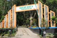 Gerbang hutan kota yang jadi pintu masuk utama menuju hutan