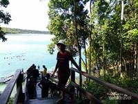 Danau Kakaban yang luas di latar belakang