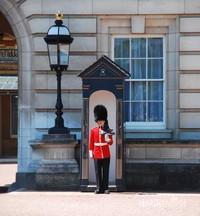 Salah satu ikon yang cukup terkenal dari negara Inggris, penjaga Buckingham dengan helm berbulu hitam yang tinggi (Bearskin) bersiaga di pos penjagaan Istana Buckingham